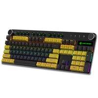 MK13 Light Mechanical Keyboard USB Wired 104 keys Metal Panel Gaming Keyboard PBT Keycap Glowing Game Keyboard