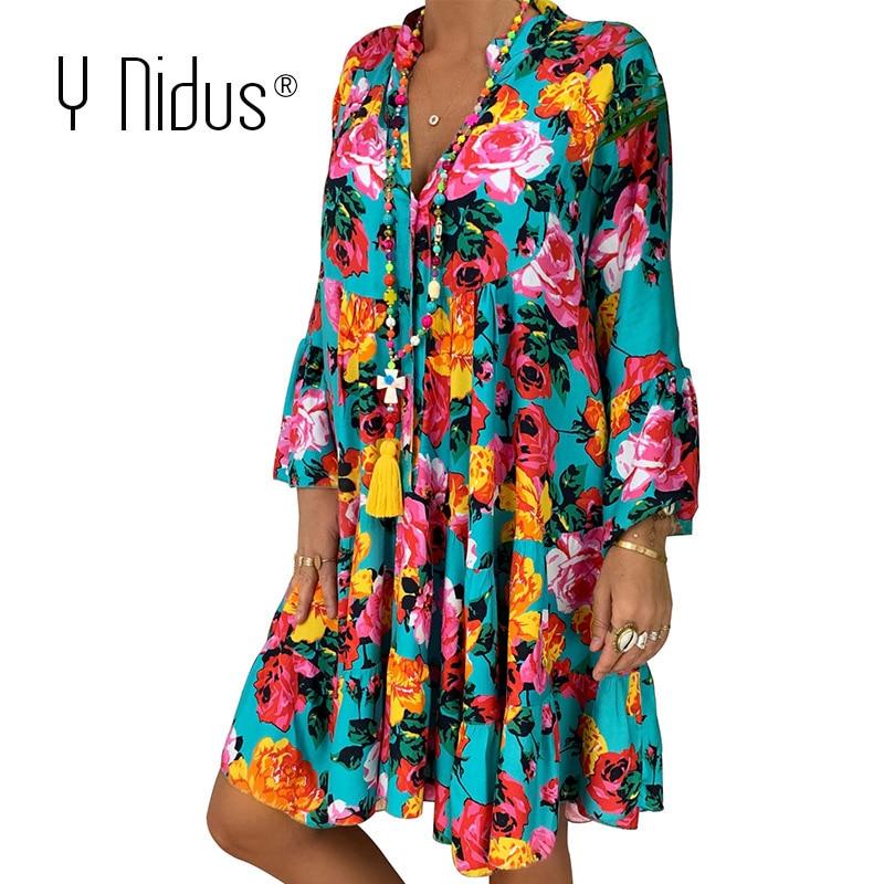 Summer Floral Dresses Mini Women Boho Spring Print Party Dress 2020 Plus Size Short Beach Dresses Casual Loose Sundress 5XL