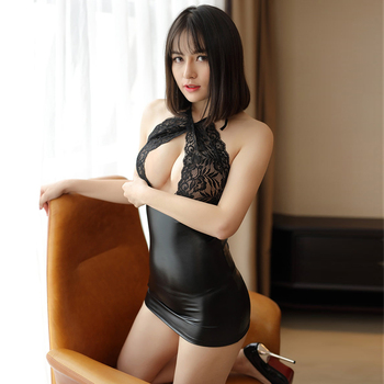 Sexy slim lace pu stitching dress Summer open chest backless short dress Massry 2019 fashion Sling mini women's bodycon clothing 1