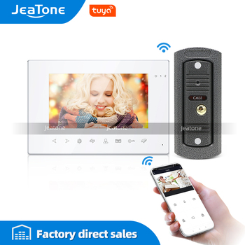 Tuya Smart App WiFi 7 Inch white color Video Door Phone Intercom System with Wired Doorbell Remote Unlock Home Access Control wifi video door intercom with inner doorbell with id openning door card app control by smart phone free shipping