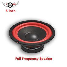 Caisson de basses Audio de voiture, 5 pouces, pleine fréquence, 4 Ohm, 60W, 130mm, cône en polyplastique étanche, bord en caoutchouc rouge, boîte en bois, haut-parleur modifié