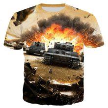 Game World of Tank Pattern Kids 3D Print t-shirt T Shirt Streetwear tshirt Boys Girls personality Tshirt Casual Top 4T-14T
