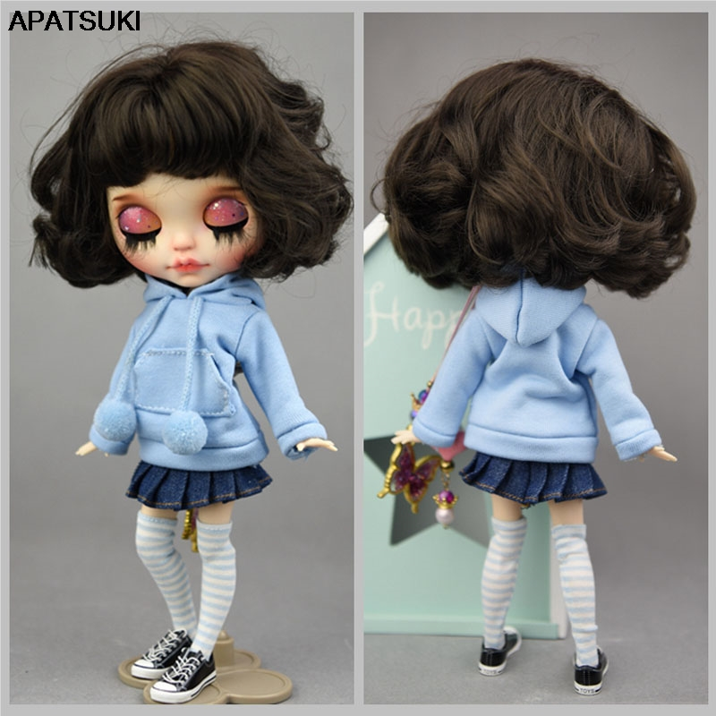 Blue Handmade Coat For Blythe Doll Sweatshirt Outfit Fashion Doll Clothes For Blyth Doll Tops Gift Kids Toy 1/6 Doll Accessories