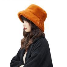 Зимняя женская однотонная Рыбацкая шляпа с плоским верхом, женская теплая плюшевая Рыбацкая шапка с широкими полями, шапка-ведро с крючком и цветком, маленькая шапка для бассейна