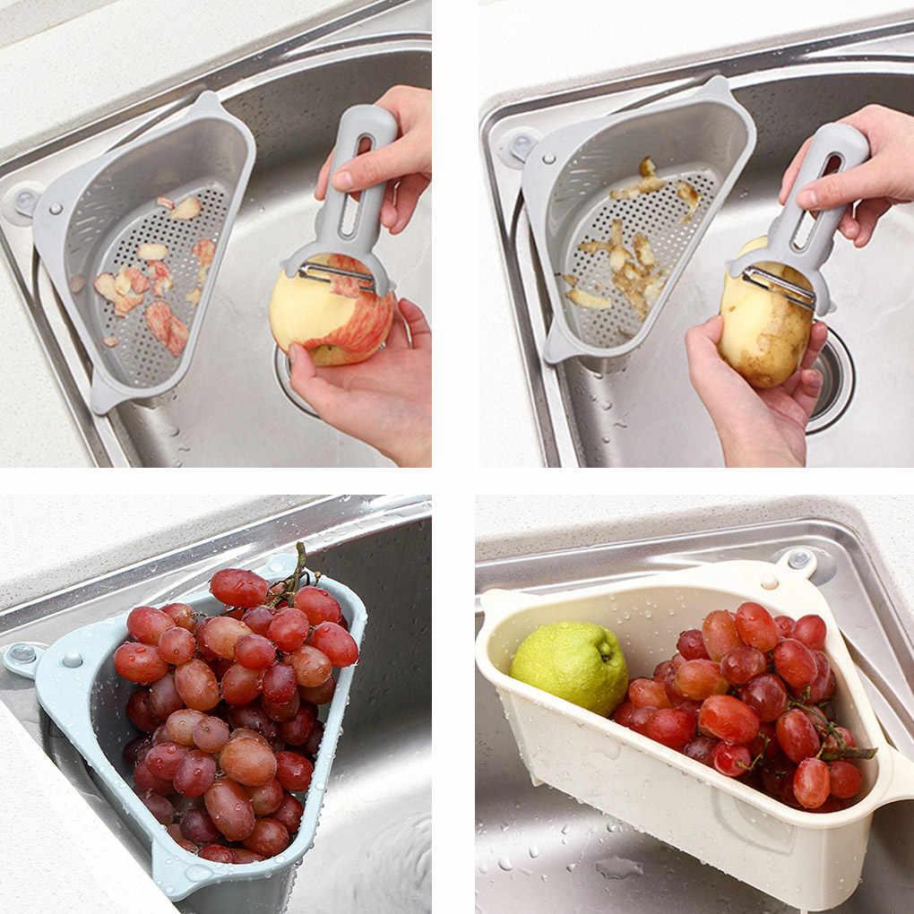 المطبخ الثلاثي مصفاة حوض استنزاف الخضار الفاكهة تجفيف سلة شفط كأس الإسفنج رف تخزين أدوات تصفية الرف