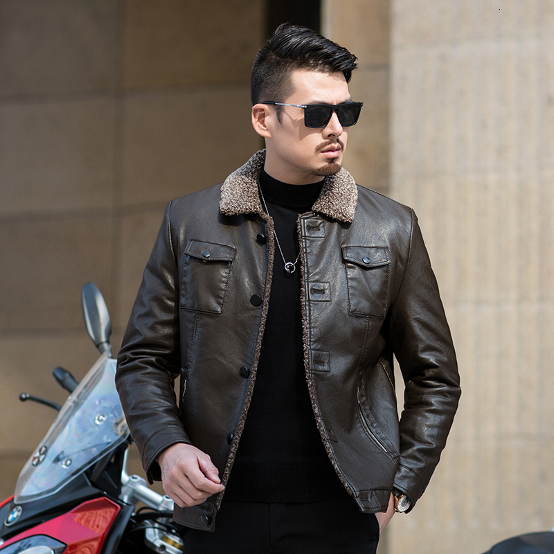 2019 NEW PLUS high quality Winter Mens Genuine Leather Jacket Brand Clothing Sheepskin Coat Rabbit Fur Parka with Mink Collar