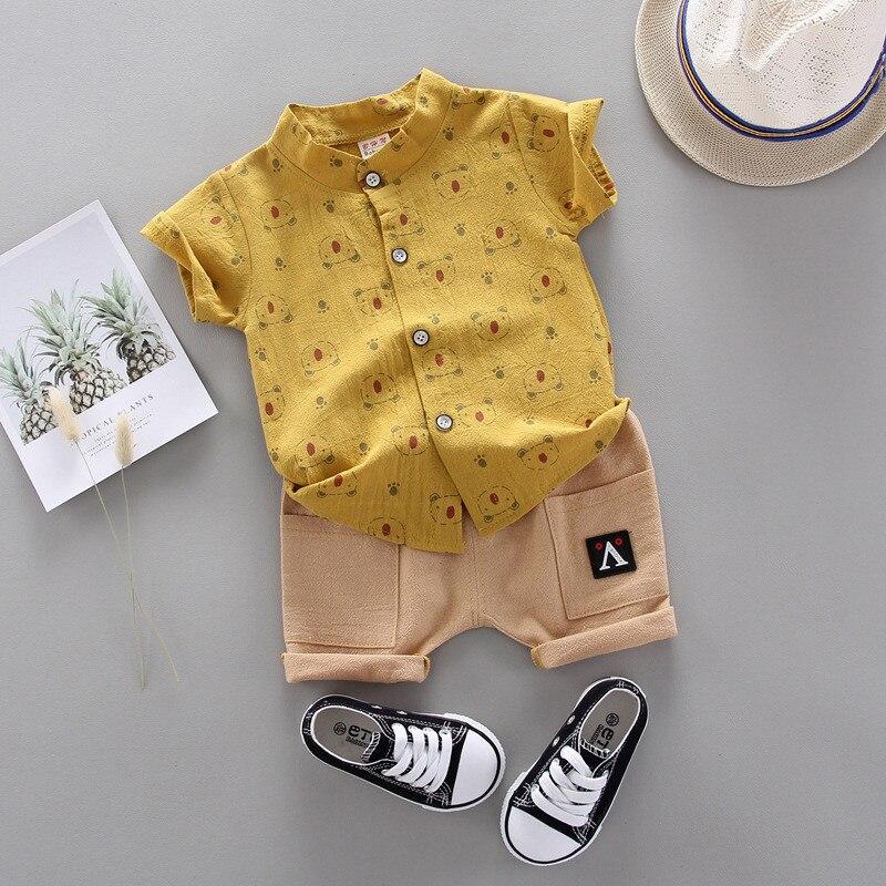 Новый Модный летний костюм для детей рубашка с принтом и шорты для маленьких мальчиков и девочек детская куртка для младенцев комплекты оде...