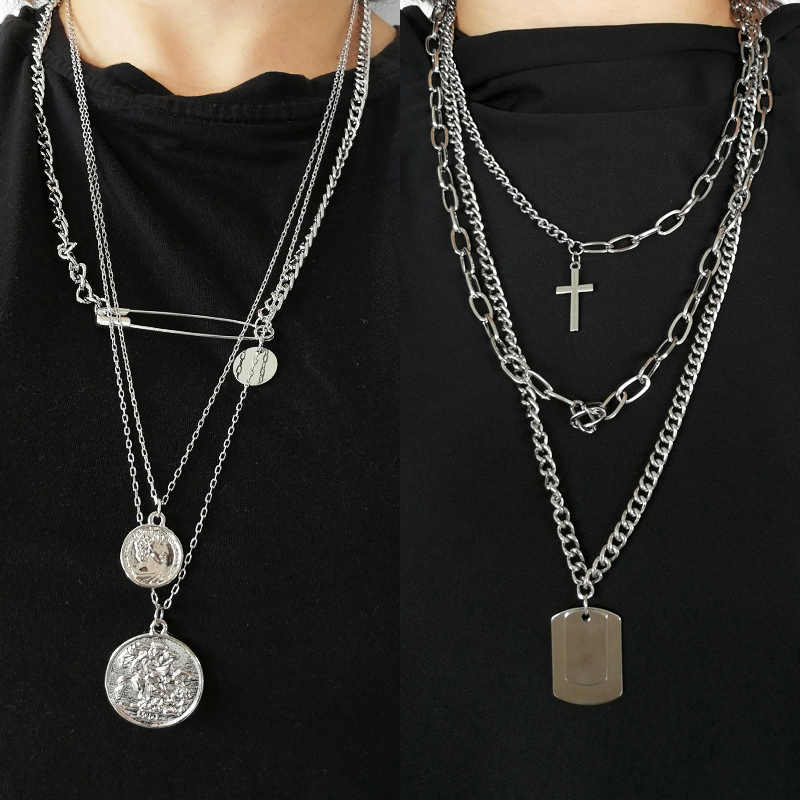 Fashion Punk Coin Couple Personality Jewelry Multilayer Metal Long Chain Pendant Necklace Men Square Hip hop Cross Cool Women