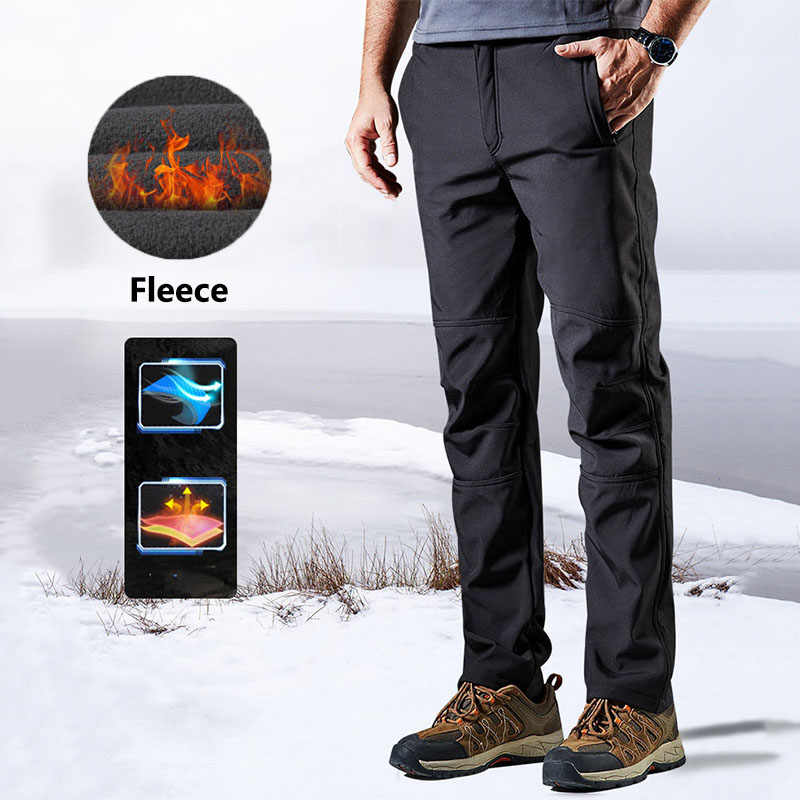 Men Outdoor Winter Polar Fleece Pants Thick Thermal Waterproof Windproof Breathable Scratchproof Trousers Climbing Skiing Pants