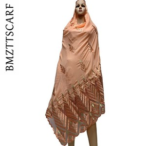 Image 5 - High Quality Chiffon Scarf mulim women embroidery chiffon splice tulle material big size scarf for shawls BM742