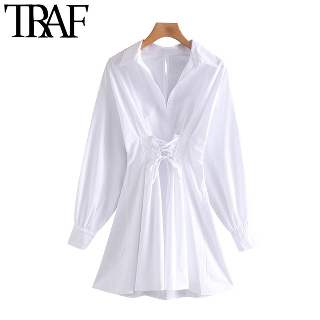 TRAF Women Chic Fashion With Drawstring Tied Pleated Mini Dress Vintage Long Sleeve Back Zipper Female Dresses Mujer 1