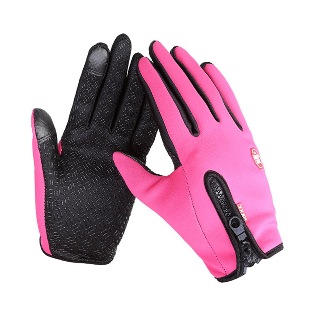 Cycling Gloves Men And Women Fleece Windproof Warm Touch Screen Gloves Outdoor Mountaineering Ski Driving Zipper Gloves