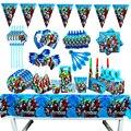 Мстители, комплекты для мальчиков, с дизайном День рождения украшения шар бумажные стаканчики и тарелки Baby Shower одноразовые столовые прибор...