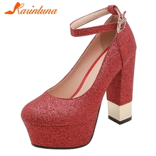 KARINLUNA 2019 New Fashion Large Size 32-43 Platform Party Wedding Shoes Ladies High Heels Buckle Shoes Woman Casual Pumps Women karinluna new arrivals big size 31 43 round toe platform women shoes woman elegant spike high heels party office lady pumps