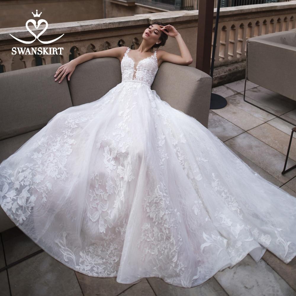 Vestido De Noiva Appliques A-Line Wedding Dress Sweetheart Lace Sleeveless Court Train Crystal Belt Bridal Gown Swanskirt K183