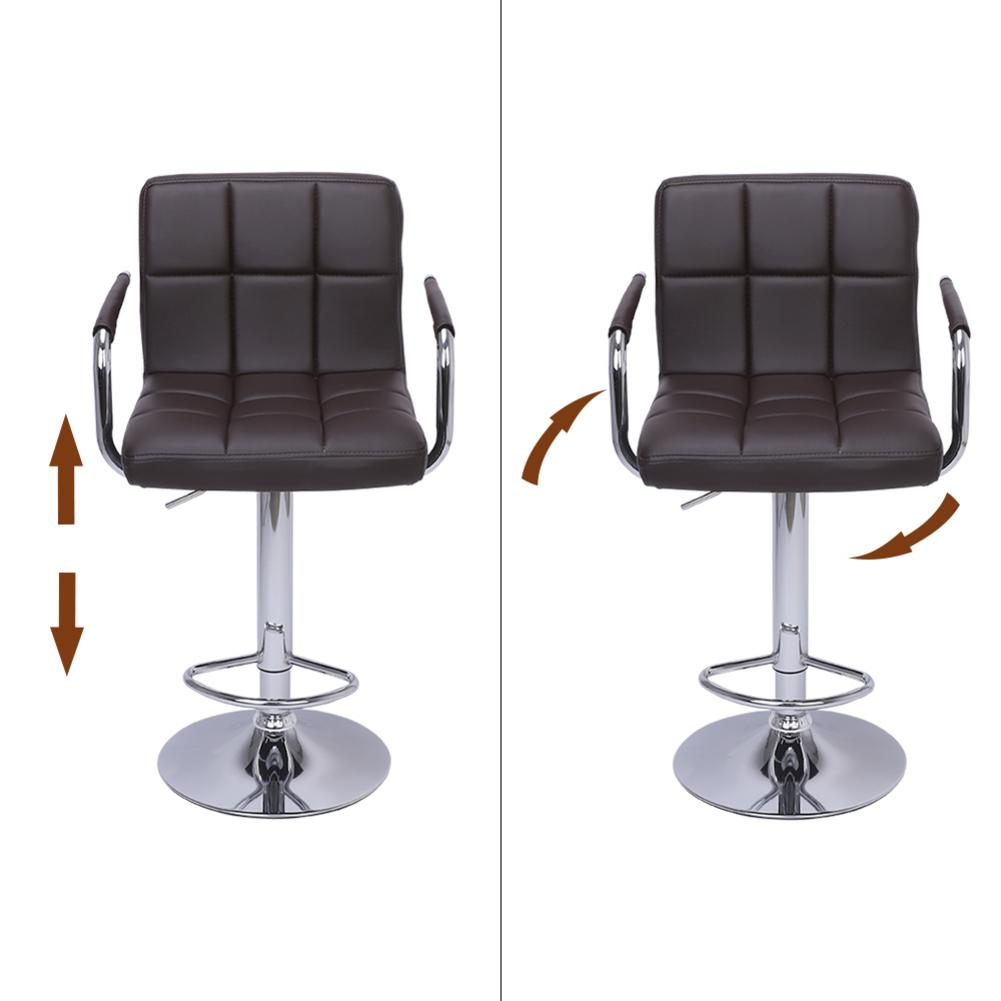 Hight Quality 2pcs 60-80cm 6 Checks Round Cushion Bar Stools With Armrest Coffee Dropshipping