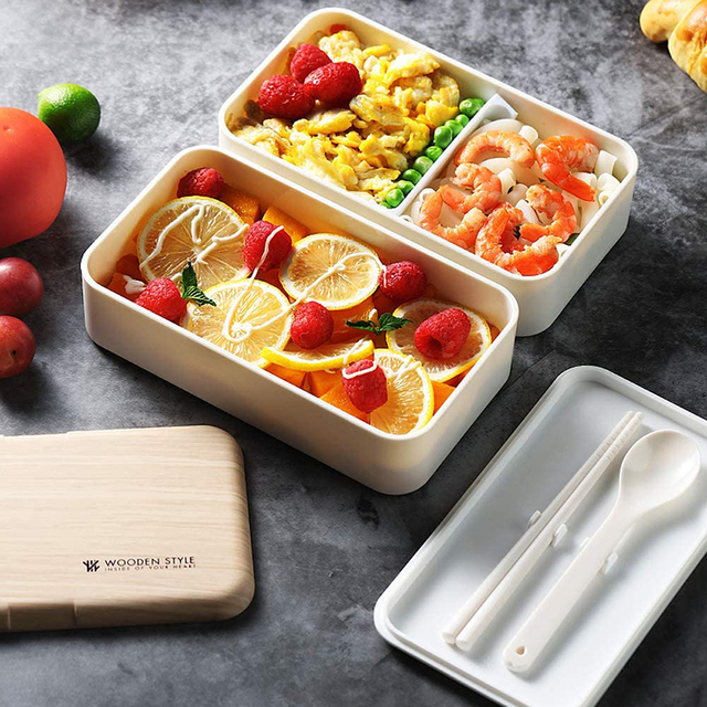 Japanese Double Layer Lunch Box Wooden Lid Microwave Bento Box for Kids Portable Picnic Food Storage Container Dinnerware Set 3