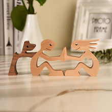 Human and Dog Wood carved wooden sculpture hand-sanded Wooden Crafs Home Desk Decorations Great Gifts for Girl Anniversary