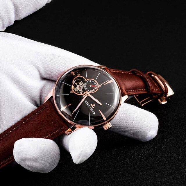 Reef Tiger/RT reloj de oro rosa para hombre, automático, mecánico, Tourbillon, con correa de cuero marrón, RGA8239