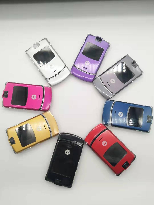 Sliver Color~100% Original World Version Flip GSM Quad Band  Motorola Razr V3 Mobile Phone One Year Warranty Free Shipping