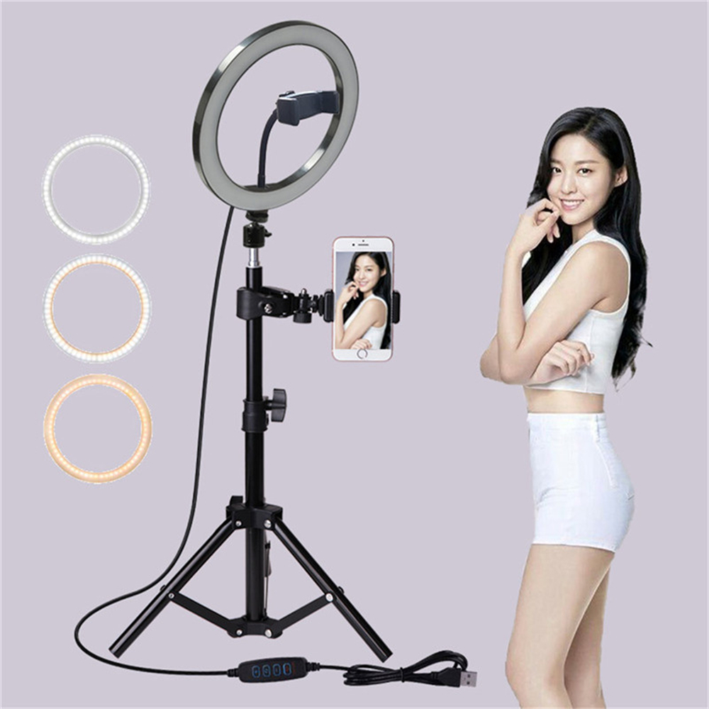cheapest 160cm 210cm Tripod Makeup phone holder stand beauty 10 inch 26cm Ring flash Video Live Led ring light lamp Photography Photo