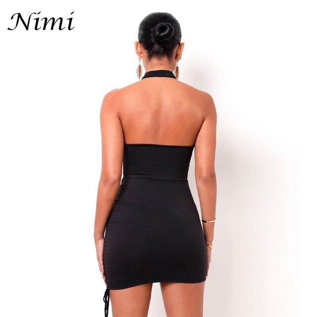 Halter Sexy Dress 2021 Summer Cross Bandage Dresses For Women Party Fashion Hollow Out Slim Hip Off Shoulder Wrap Vestido Black 3