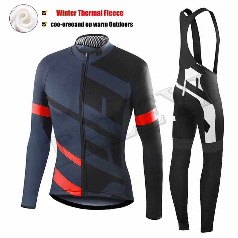 Specializeding 2019 Зима Велоспорт Джерси тепловой флис с длинным рукавом комплект велосипедной одежды Maillot Ropa Ciclismo Invierno куртка