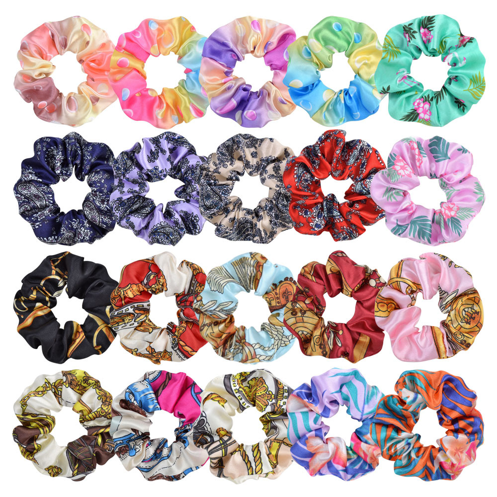 Korea Print Hair Scrunchie Elastic Hair Rubber Bands Women Girl Hair Ring Ponytail Holder Headwear Baby Girl Hair Accessories
