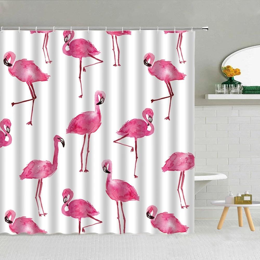 pink flamingo shower curtains for girl bathroom home decor romantic tropical bird waterproof fabric bath curtain set with hooks