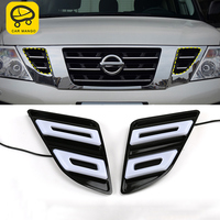 CARMANGO for Nissan Patrol Y62 Auto Car styling Front Hood Light Grill Light LED Light Assembly Exterior Auto Replacement Parts