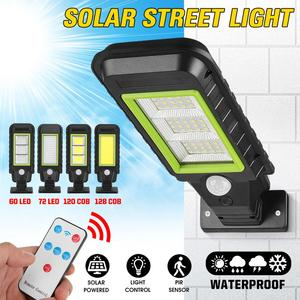 60/70 LED 120/128COB Solar Street Light Remote Control PIR Motion Sensor IP65 Outdoor Solar Wall Street Light