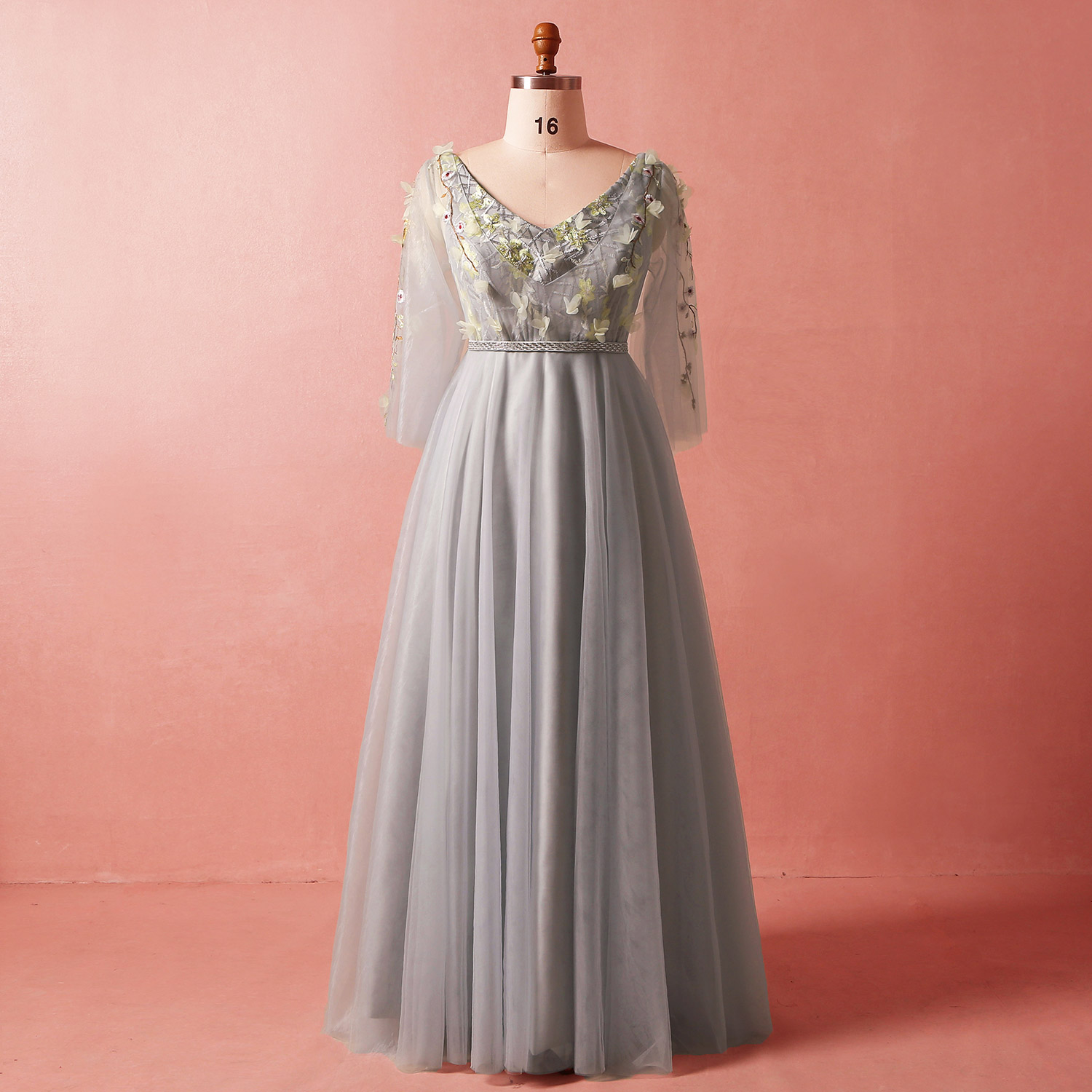 Evening Dresses A-line V-neck Floor-length Llusion Appliques Wedding Guest Party Gowns Long Prom Dress