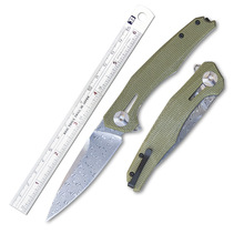 High Quality Folding Pocket Damascus steel BladeSelected linen Handle Outdoor Camping Hunting Tactical Survival Knives EDC Tools