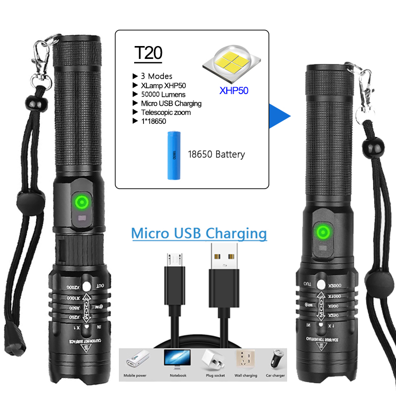 POCKETMAN 50000 lumens flashlight xhp50.2 most powerful flashlight 18650 usb torch  xhp50 lantern 18650 hunting lamp hand light