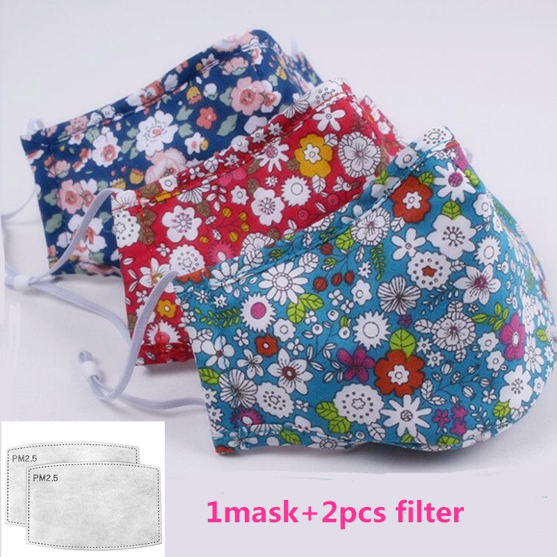 Mouth Mask Anti-dust Mask PM2.5 Reusable Mask  Whith 2pcs Filter Washable Pront Mouth Face Masks