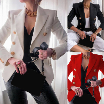 Elegant Business Office Work Women Lady Long Sleeve Solid Colors Turn Down Collar Button Suit Jacket Tailored Coat Outwear#g3