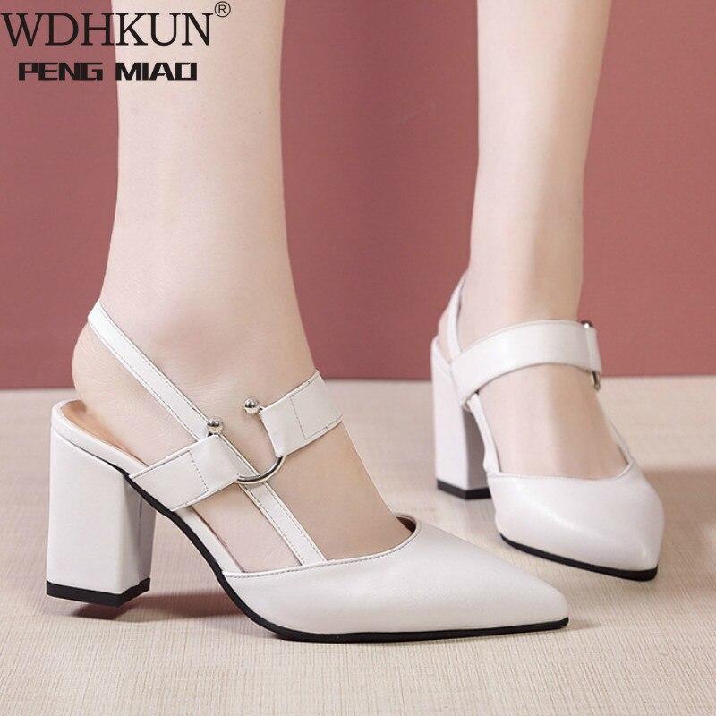 Летние босоножки; модельная обувь для вечеринок; босоножки из искусственной кожи на высоком каблуке; женские мюли с острым носком на не сужа...