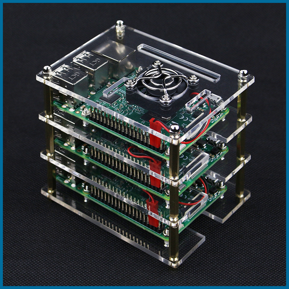 Fit for Raspberry Pi4 Model B Acrylic Case Cover Enclosure Box with Cooling Fans
