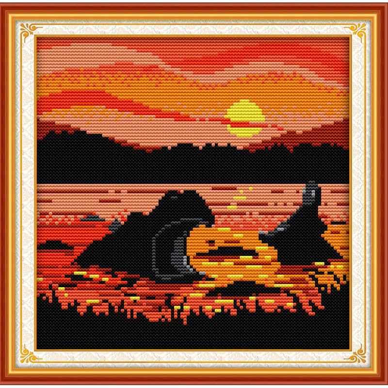 Mooie Zonsondergang Dier Kruissteek Kit Elephant Hippo Eend Giraffe Patroon Handmadediy Borduurwerk Kit Home Decoratie Schilderen
