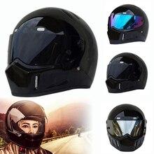 Full Face Motorcycle Helmet ATV Black Dirt Bike Street Kart Racing Moto Full Face Helmets Protective Motocross Helmet Glossy цена