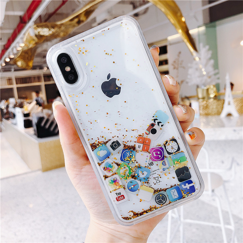 Quicksand Case Cute APP Icon Case Cover For iPhone 11 Pro MAX 8 7 6 6s X XS MAX Liquid PC Hard Phone Shell Transparent case image