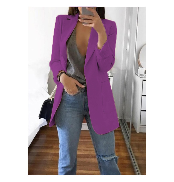 Women's Europe And The United States Spring And Autumn Explosions Fashion Lapel  Cardigan Temperament Large Size Suit Blazers