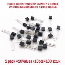 BC337 BC327 2N2222 2N2907 2N3904 2N3906 S8050 S8550 A1015 C1815 10 Valeurs x10pcs = 100 Transistors ensemble Pack Transistor kit (TO 92)