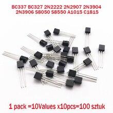 BC337 BC327 2N2222 2N2907 2N3904 2N3906 S8050 S8550 A1015 C1815 10 Valores x10pcs = 100 Pacote conjunto kit Transistor Transistores (TO 92)