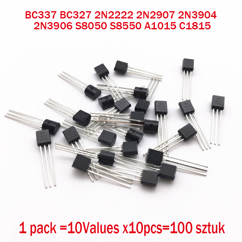 BC337 BC327 2N2222 2N2907 2N3904 2N3906 S8050 S8550 A1015 C1815 10Values x10pcs=100 Transistors set Pack Transistor kit (TO-92)