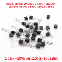 BC337 BC327 2N2222 2N2907 2N3904 2N3906 S8050 S8550 A1015 C1815 10Values x10pcs=100 Transistors set Pack Transistor kit (TO 92)
