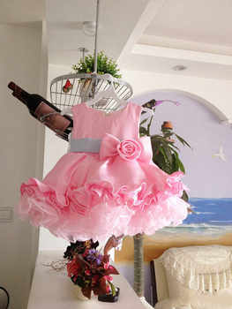 Light Pink Baby Girls Dresses For Party Wedding Tiered Baby frocks With Bow Toddler princess Birthday cupcake Dress