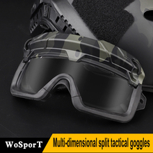 Multi-dimensional Split Tactical Outdoor Goggles For Climbing Skiing Shooting Used With Helmet