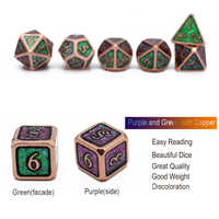 2020 el nuevo Metal juego de dados Dnd escalas bolsa de 7 Uds RPG juegos de mesa MTG D4 D6 D8 D10 D % D12 D20 Color cambiar de ángulo diferente