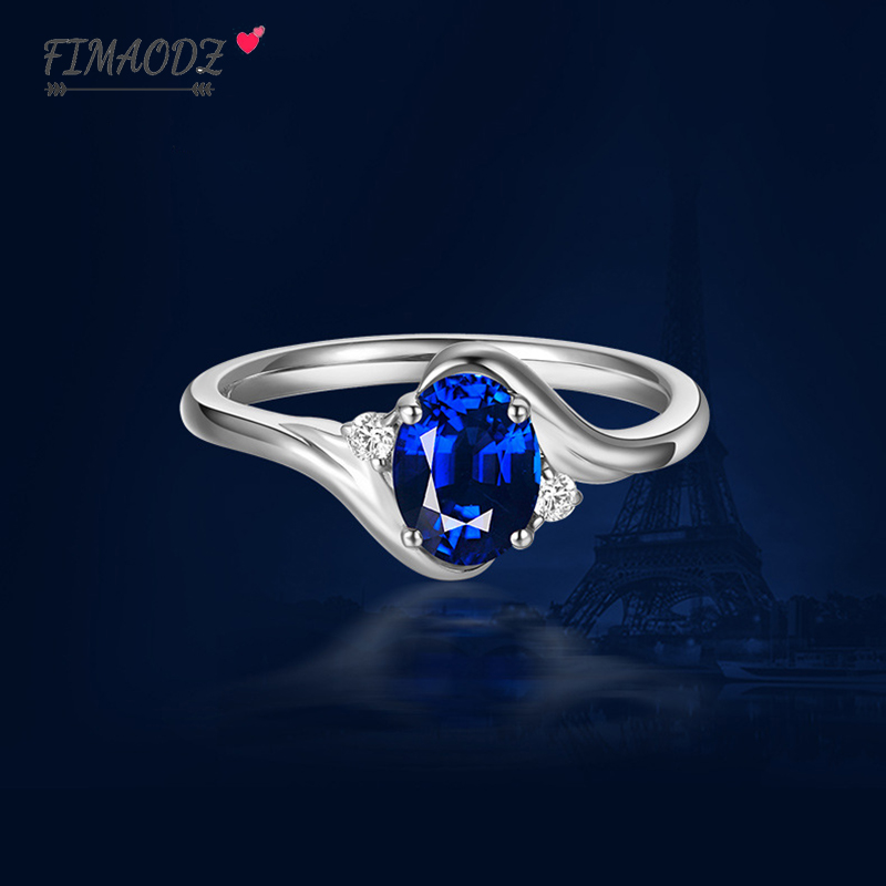 FIMAODZ White Gold Ring For Women luxury Blue Crystal Wedding Engagement Opening Adjustable Ring Jewelry Party Wholesale Gift